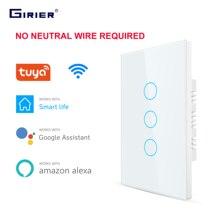 Smart Wifi Touch Schakelaar Geen Neutrale Draad Vereist Smart Home 1/2/3 Gang Lichtschakelaar 220V Ondersteuning Alexa tuya App 433RF Remote