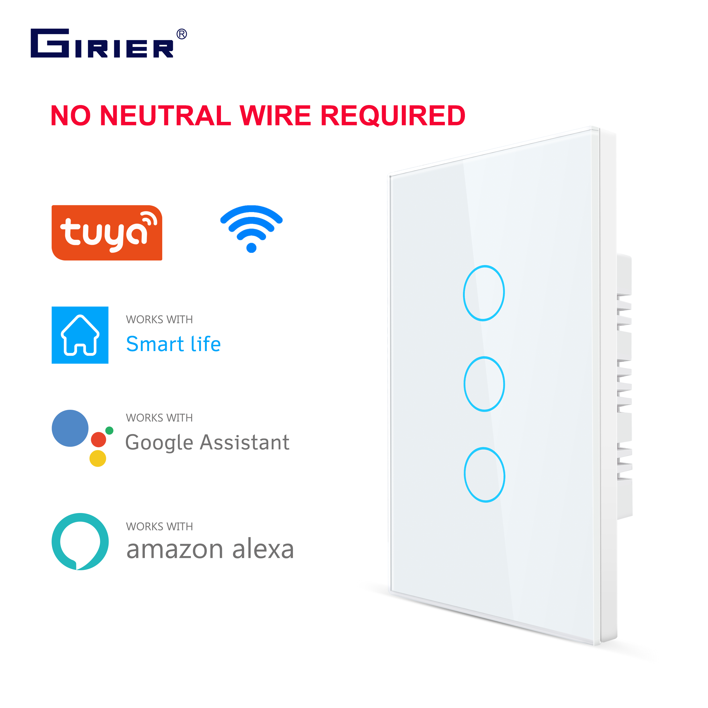 Smart Wifi Touch Switch No Neutral Wire Required Smart Home 1 2 3 Gang Light Switch 220V Support Alexa Tuya App 433RF Remote