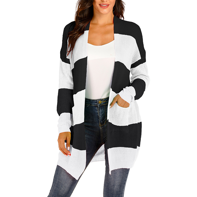 Cardigans Women Striped Long Wild Sweater Office Lady Commuter Loose Cardigan Black White Female Casual Plus Size Sweater
