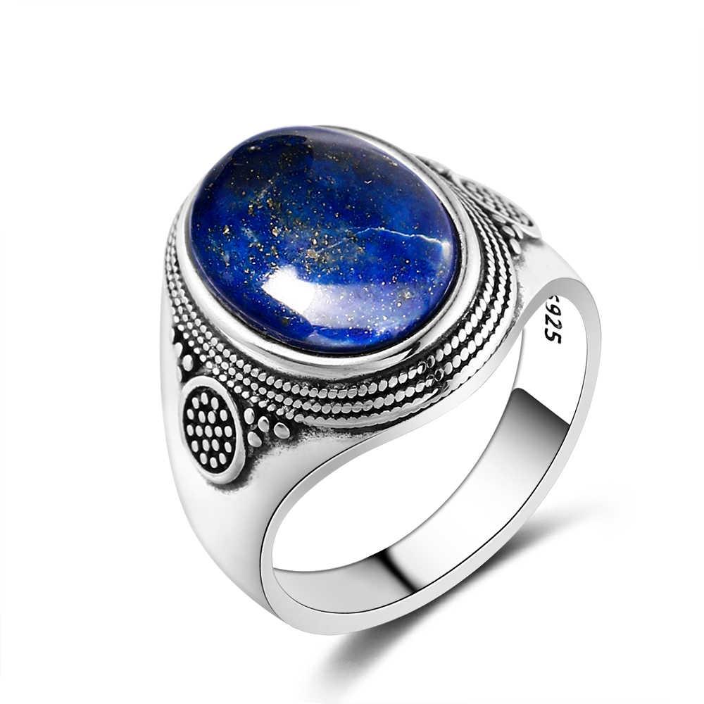 Charm Noble 100% 925 แหวนเงิน 10x14MM Lapis Lazuli แหวนหญิงสาวปาร์ตี้ครบรอบวันเกิดของขวัญ