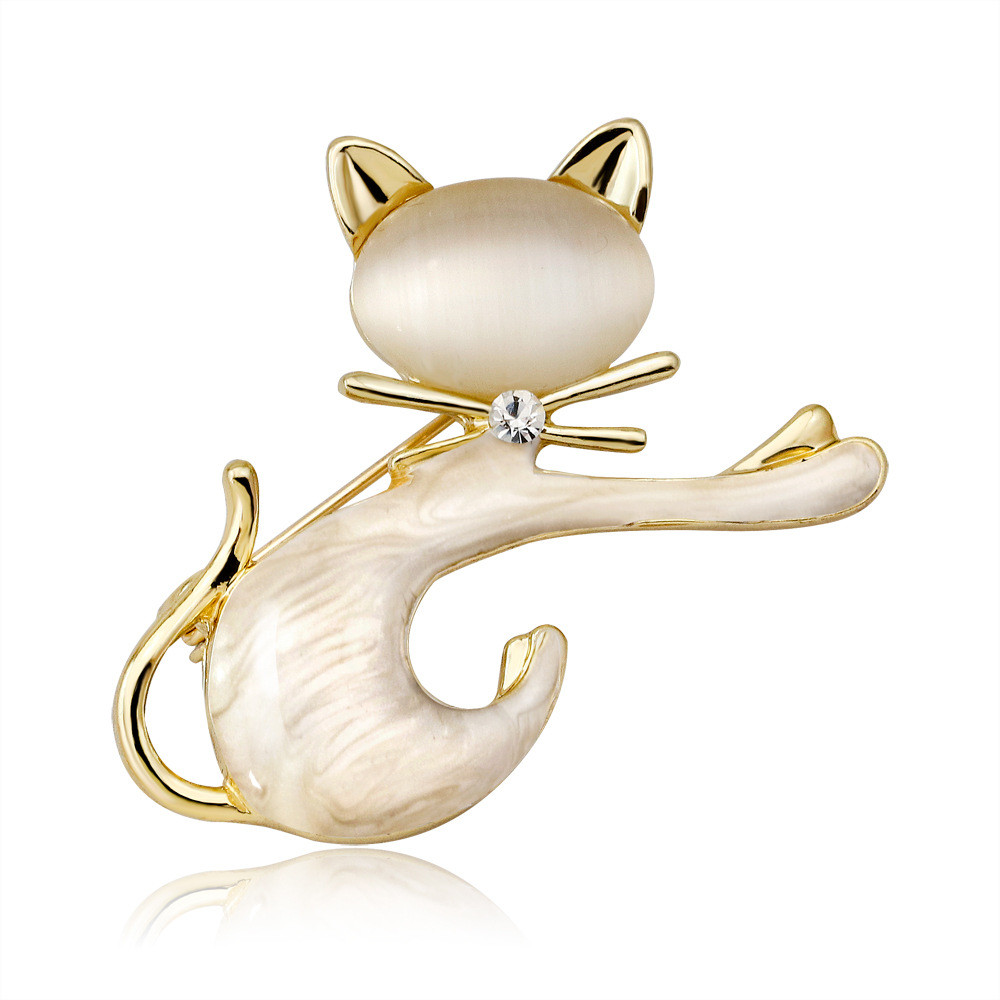 Japanese cute simple brooch personality cat Opal fashion animal series ladies