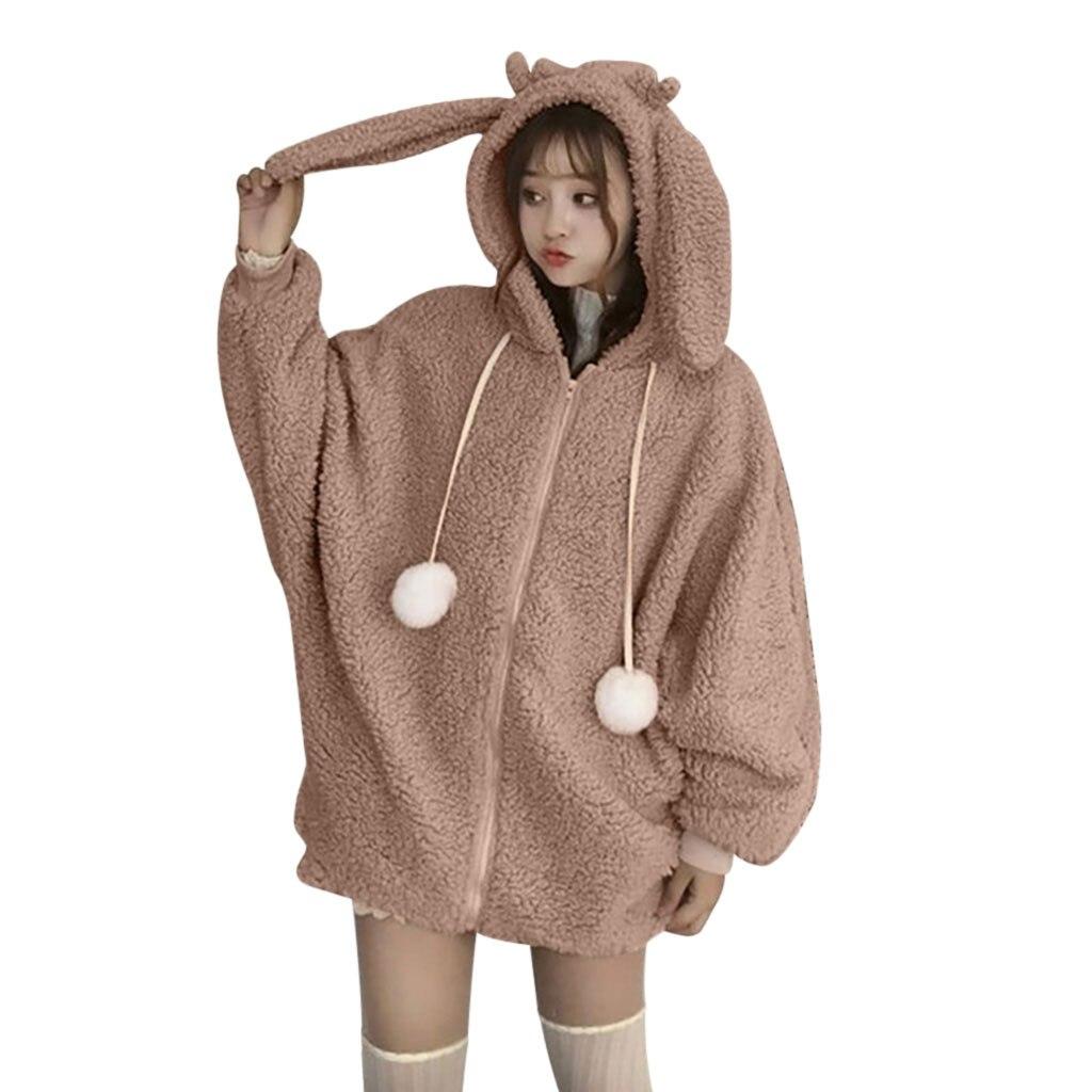 BPrincess Girls Soft Fur Fleece Zip Up Bear Ears Hood 2 Pocket Solid Color Coat