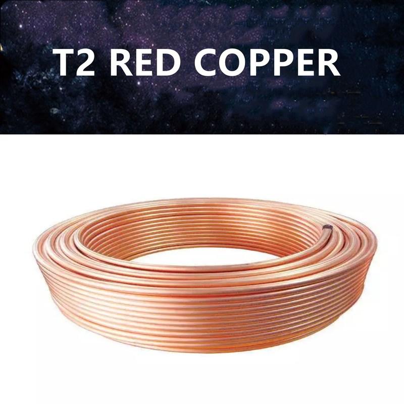 2m T2 Rot Kupfer spule 2/3/4/5/6/8/10/12/14/16mm Kupfer rohr Klimaanlage Kupfer Rohr Weichen Schlauch 99.9% T2 Kupfer DIY Kühlung