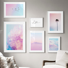 Pink Sky Cloud coconut crystal Landscape Wall Art Print Canvas Painting Nordic Posters And Prints Pictures For Living Room