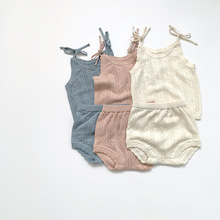 2021 New Girls boys 2 Pcs Set Knitted Vest +Shorts Cotton Summer Fashion Babys Suits 0-3 years
