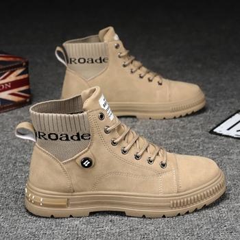 Moda męska gorąca sprzedaż męskie buty buty oprzyrządowanie buty motocyklowe buty Retro męskie buty Trend buty Martin buty tanie i dobre opinie ICCLEK CN (pochodzenie) ANKLE Stałe Adult okrągły nosek RUBBER Zima Mieszkanie (≤1cm) X9016 Sznurowane Dobrze pasuje do rozmiaru wybierz swój normalny rozmiar