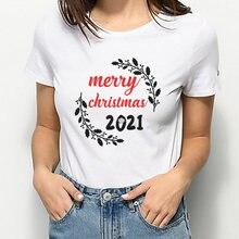 """Летний женский белый топ футболки с надписью """"merry christmas"""""""
