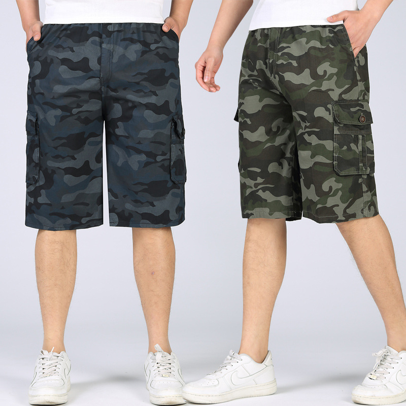 2017 Summer MEN'S Wear Camouflage Pants Middle-aged Daddy Clothes Capri Pants Thin New Style Straight-Leg Shorts