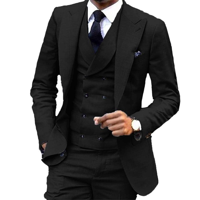 Black Groom Tuxedos Notch Lapel Slim Fit Groomsmen Wedding Suits 3 Pieces Excellent Man Blazer (Jacket+Pants+Vest)
