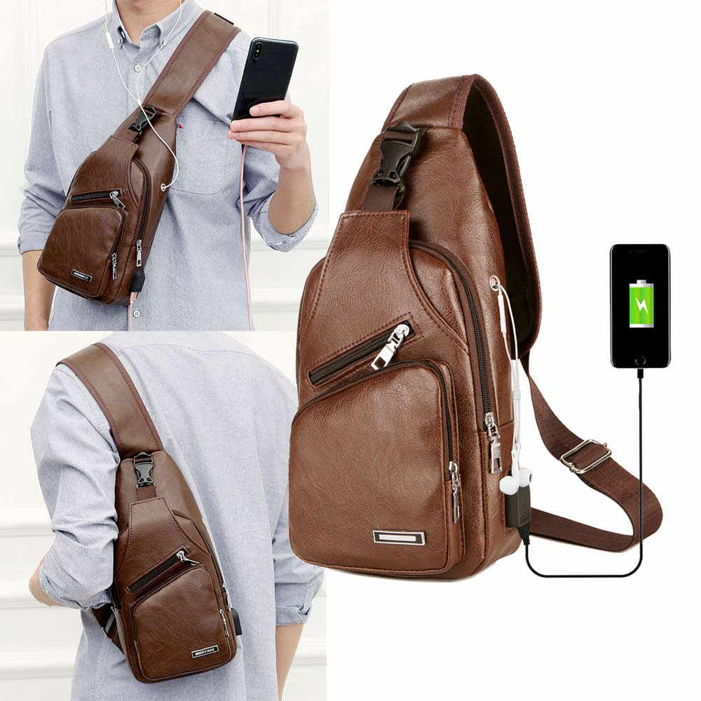 2020 Business Bag Leather USB Portable Charging Casual Sports Backpack Crossbody Shoulder Bag Fashion Men Chest Bag DROPSHIPPING