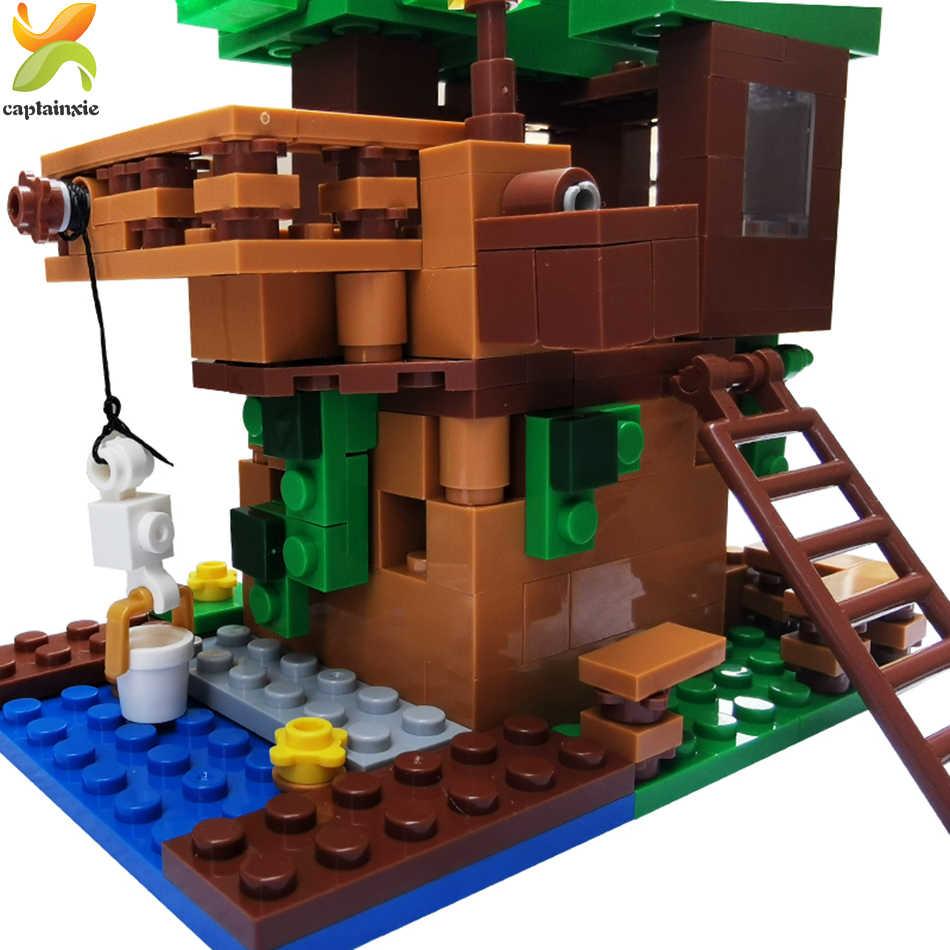 Gunung Gua Bangunan Rumah Pohon Blok Dunia Saya dengan Lift Tokoh Hewan Mekanisme Playmobil Mainan untuk Anak