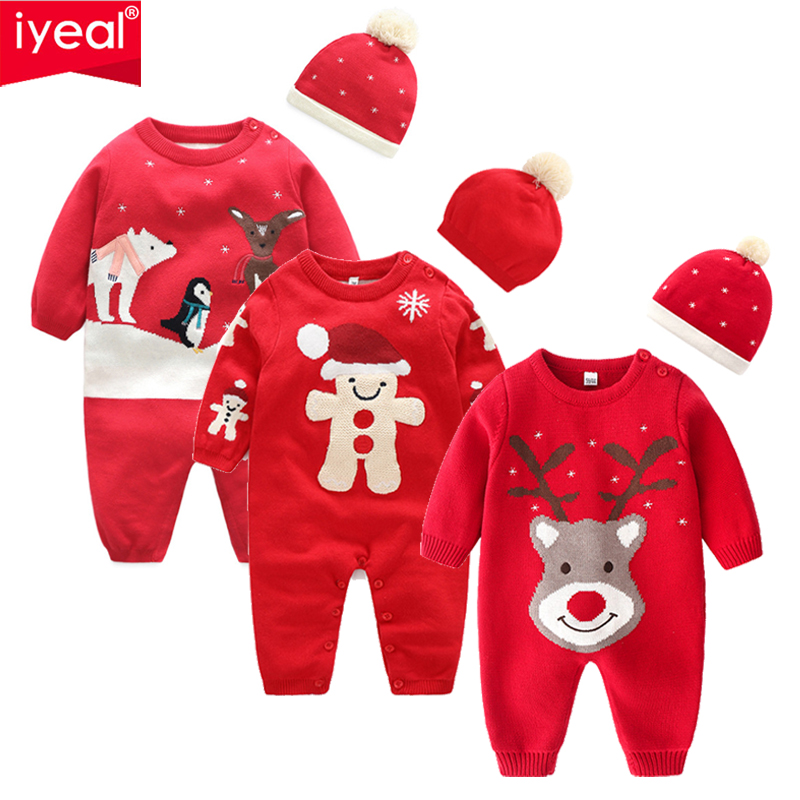 IYEAL New Year Christmas Baby Clothes Newborn Boy Jumpsuits Newborn Winter Knitted Long Sleeve Toddler Sweater Children Overalls