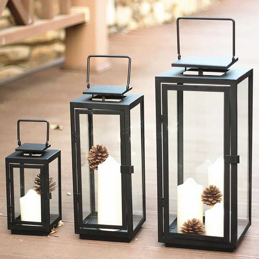 European Style Simple Candle Holder Wrought Iron Weeding Birthday Christmas Candle Candle Lantern Diwali Decorations Home 50X071