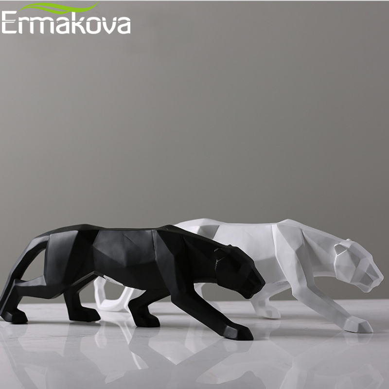 ERMAKOVA Panther Statue Animal Figurine Abstract Geometric Style Resin Leopard Sculpture Home Office Decoration Gift