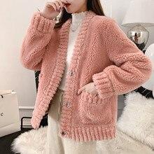 Elegant pink shaggy women faux fur coat streetwear Autumn winter warm plush teddy Woolen Female plus size overcoat party