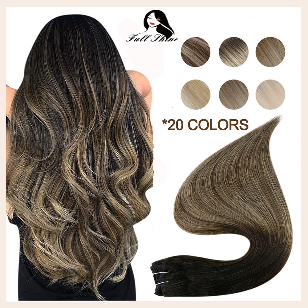 Full Shine Remy Human Hair Weft Extensions 100 Gram Balayage Color Double Weft Sew in Extensions nvisible Bundles Straight Hair