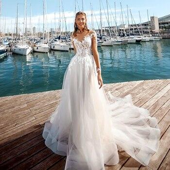 Verngo Beach Wedding Dress Boho Long Sleeeves Bride Appliques Lace Organza And Tulle Gowns Vestidos De Novia 2020