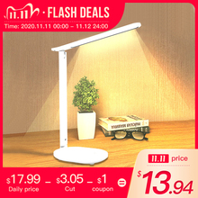Luz de lectura de escritorio regulable, Interruptor táctil giratorio plegable, lámpara de mesa LED, Cargador USB, lámpara de noche recargable