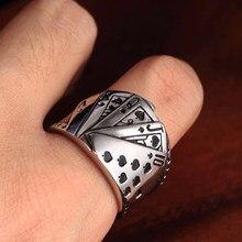 2020 novo design punk reta flush poker dedo anel de jogo criativo boa sorte signet anéis anel anel anel para mulheres masculinas