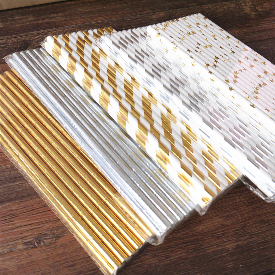 25pcs  Metallic Gold Heart Star Foil Stripe Paper Straws Gold Foil Stripe Paper Straws Silver Foiled Stripe Chevron