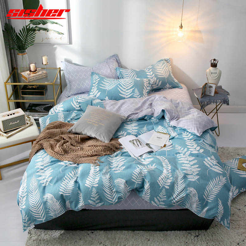 Sisher Printed Plant Green leaf Duvet Cover set Queen Size Cotton Single Double King Quilt Covers sets Simple Bedclothes duvets