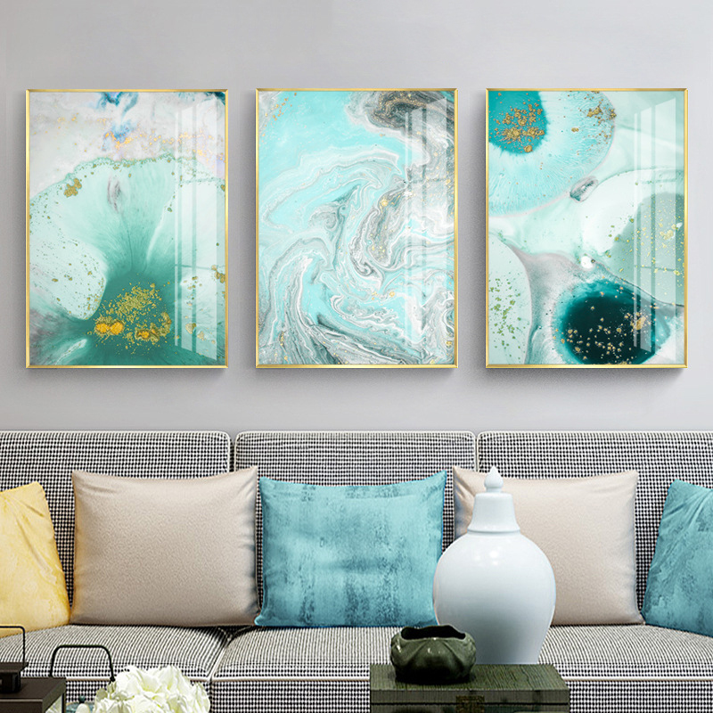 Modern Abstract Green Wall Art Cuadro Fashion Golden Foil Nordic Canvas Painting Living Room Big Print Poster Tableaux Salon