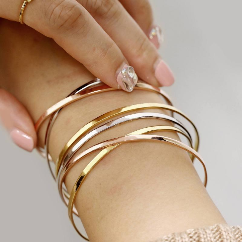 Stainless Steel Simple Cuff <font><b>Open</b></font> Bangles <font><b>Bracelet</b></font> Smooth Handcuff Punk Bangle Rose Gold Silver Color Stackable <font><b>Bracelet</b></font> Jewelry image