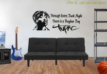 Tupac Shakur wall decals music decoration hip hop decorative rap black history YY14