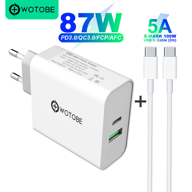 2 port 87W USB C Power Adapter,1Port PD87W QC3.0 1port USB A 12W Wall Changer For Pro 8/X/11 Pro USB C Laptops S8/S10 Changing