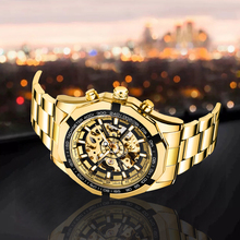 Forsining Gold Stainless Steel Waterproof Mens Skeleton Watches Top Brand Luxury Transparent Mechanical Male Wrist Watch
