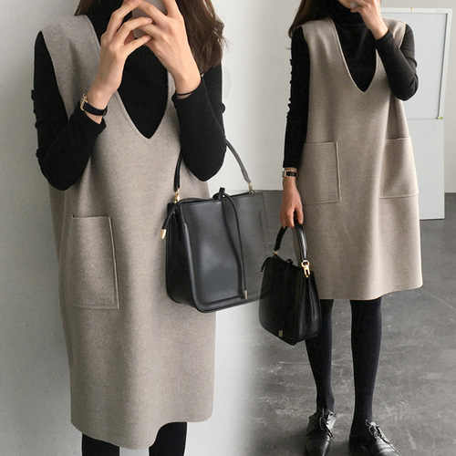 Woolen Vest Women's Autumn And Winter 2019 New Mid-length Loose-Fit Jumper Dress Base Dress Set Two-Piece Set