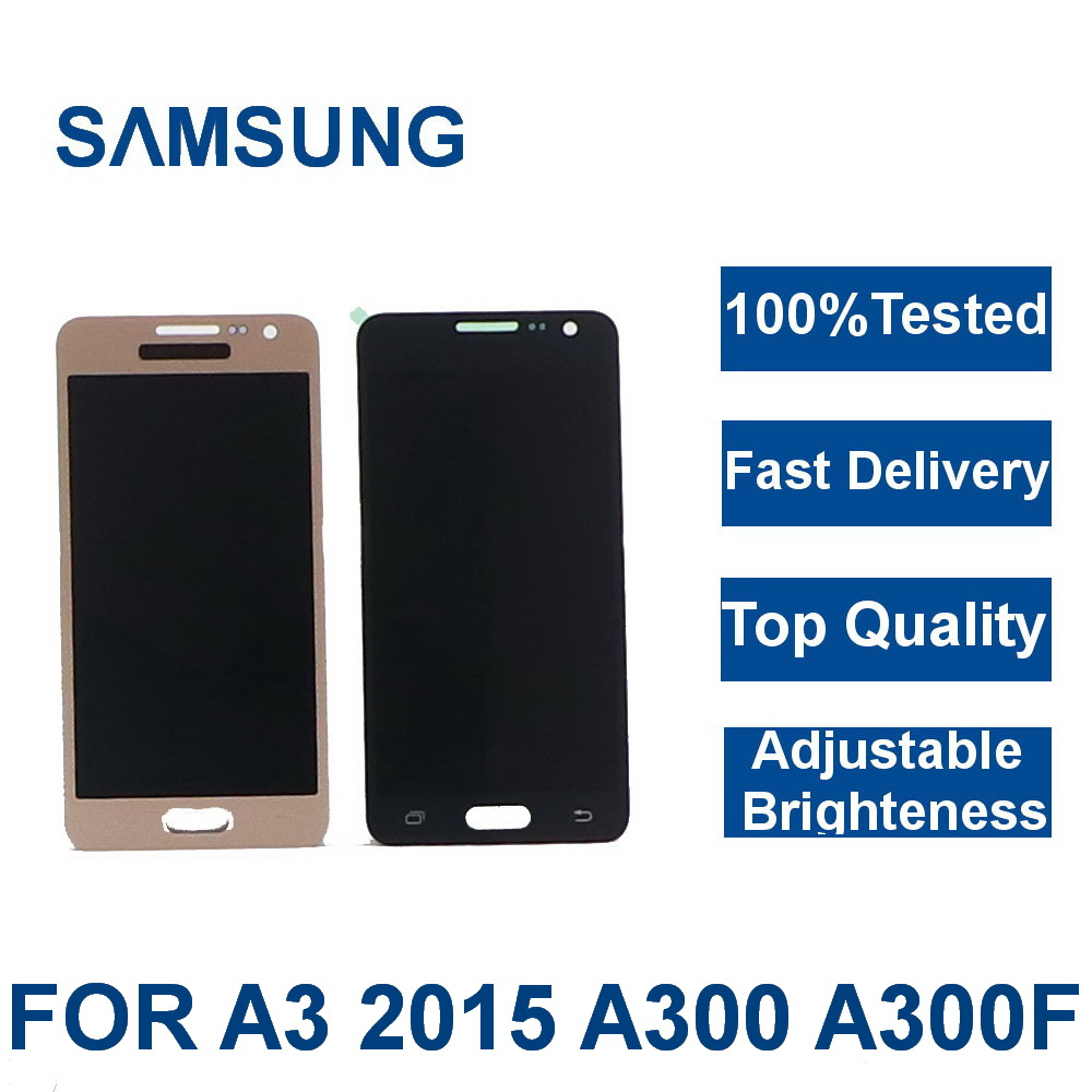 For <font><b>Samsung</b></font> Galaxy A3 2015 <font><b>LCD</b></font> Display <font><b>A300</b></font> A3000 A300F A300M <font><b>LCD</b></font> Touch Screen Digitizer Assembly with Adjust brightness image