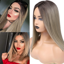 FAVE Short Lace Part Straight Hair Ombre Black Flax Brown Middle Part