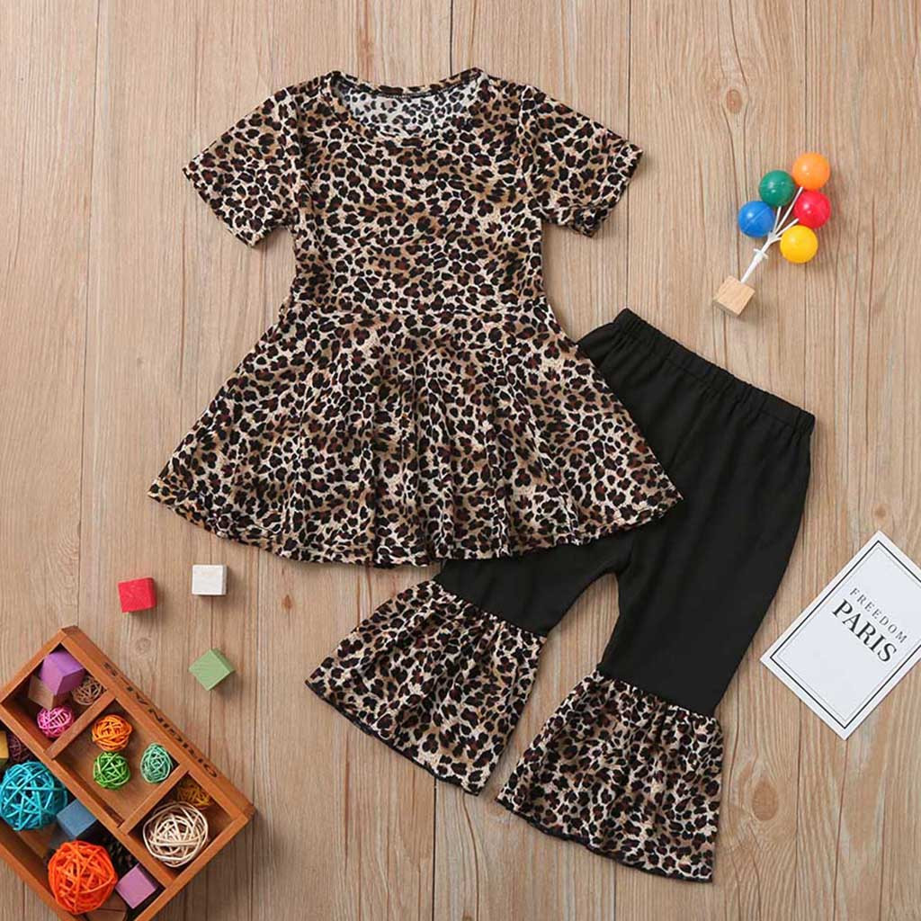 Toddler Baby Kids Girls Casual Ruched Leopard Print Dress Tops Pants Outfits Set