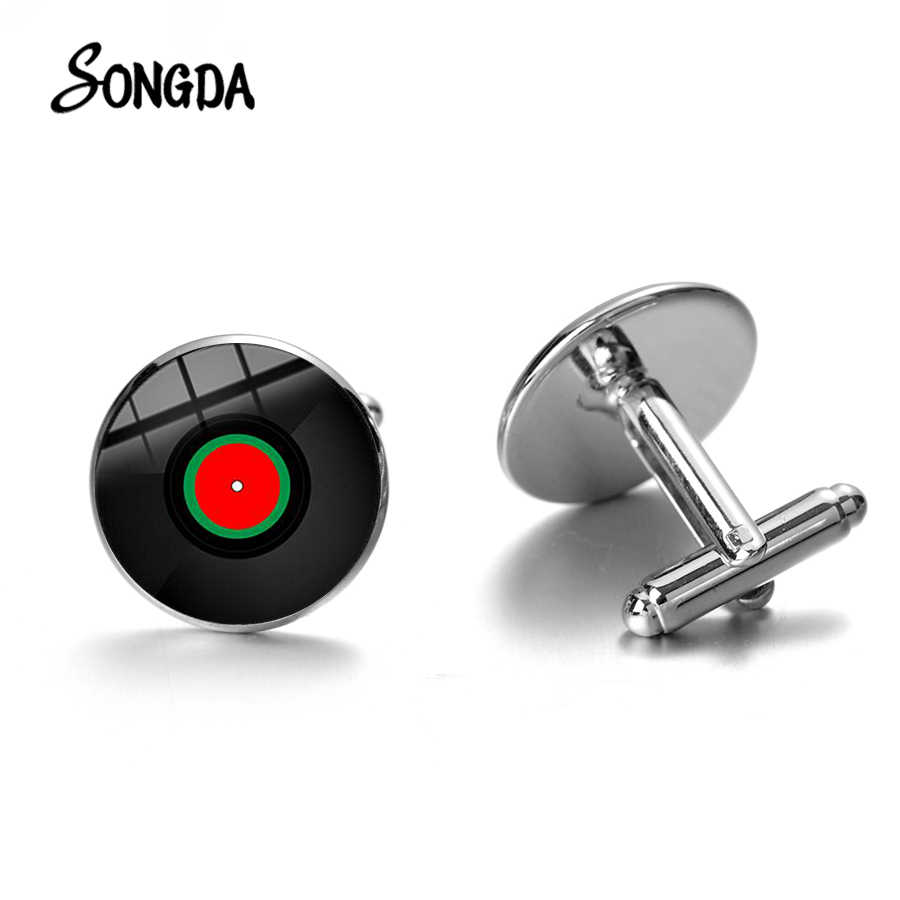 Recycled record 2 Tone cuff links.