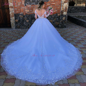 Image 2 - Julia Kui Off White Skin Tulle Of Scoop Neckline Ball Gown Wedding Dress With Long Sleeve Princess Wedding Gown