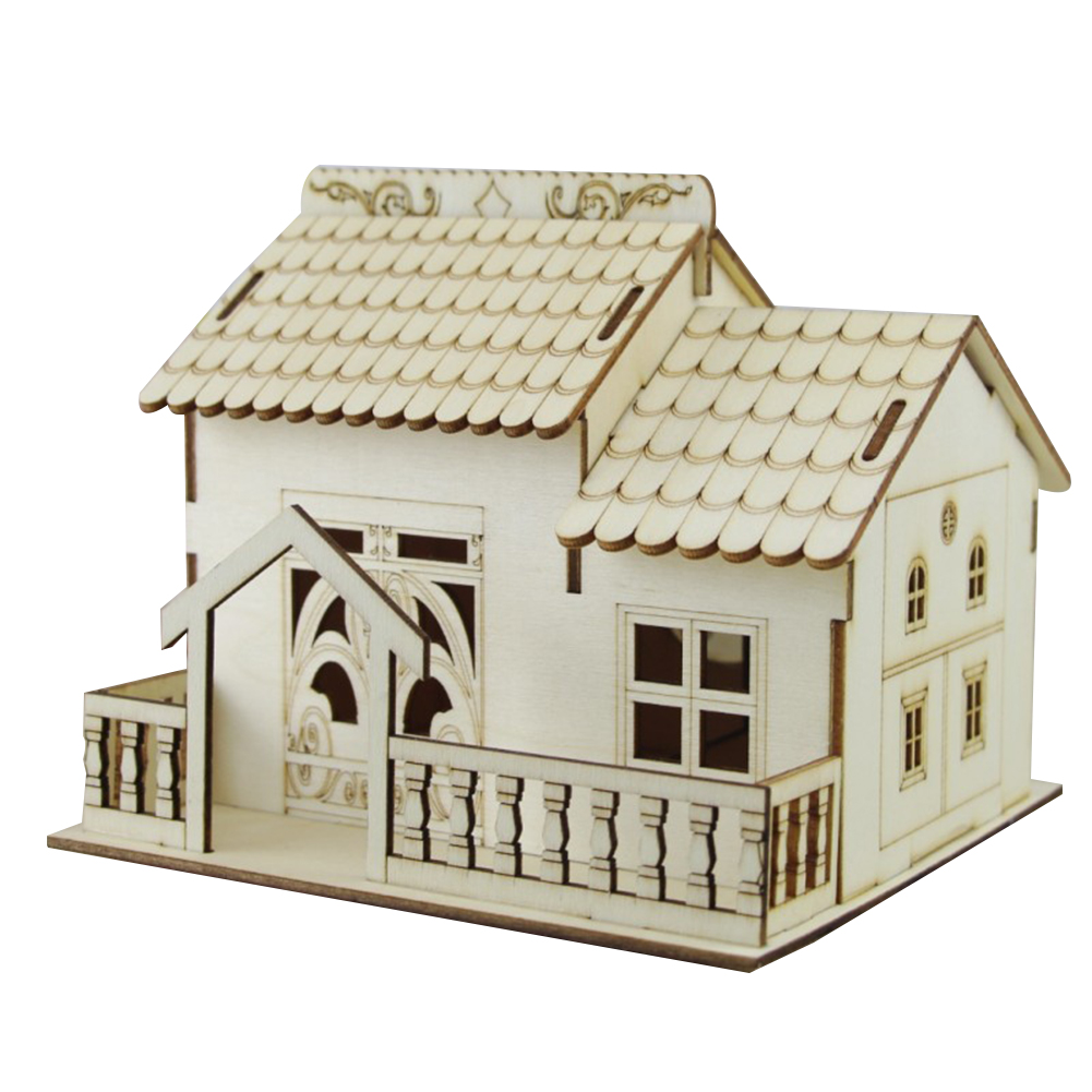 Multi-functional Wooden Villa Night Light Piggy Bank Home Decoration Money Box GQ999