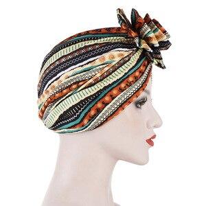 Image 3 - Helisopus хлопок дамы печатные повязки Кепка Chemo эластичный головной платок для женщин мусульманский тюрбан шапочки аксессуары для волос