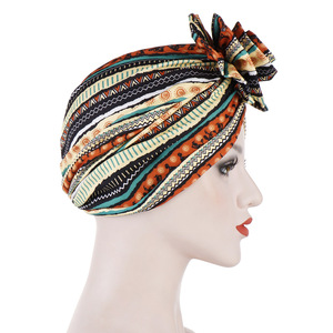 Image 3 - Helisopus Cotton Ladies Printed Headbands Chemo Cap Elastic Headscarf Women Muslim Turban Beanies Hair Accessories