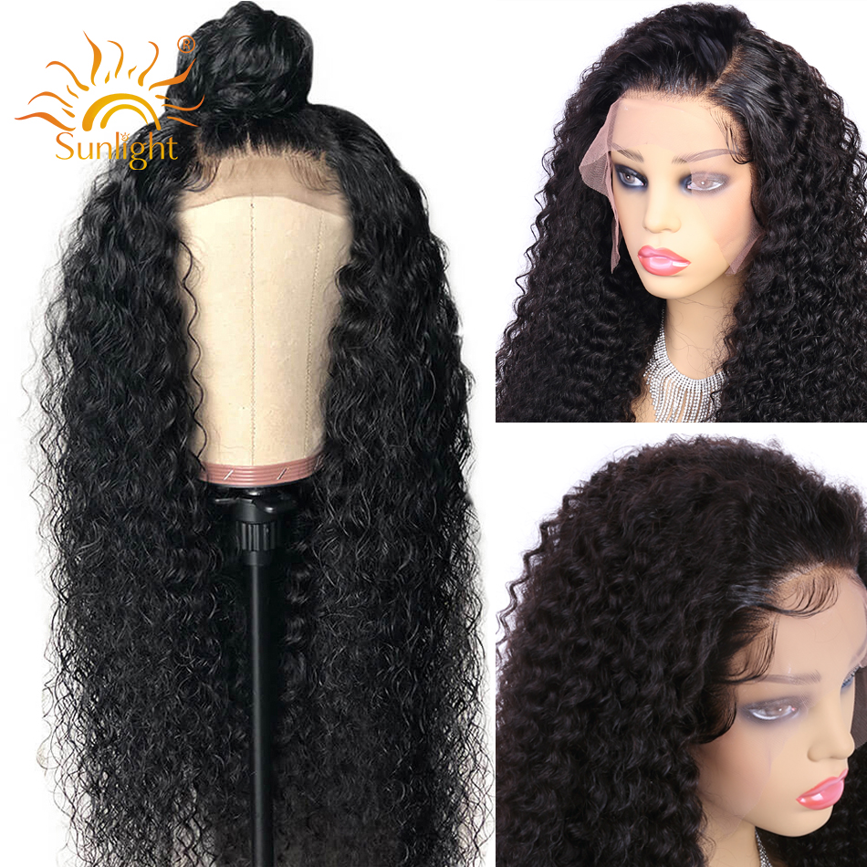 150 Density Curly Human Hair Wig 13x4 Pre Plucked Lace Wig Sunlight Peruvian Remy Natural Short Curly Lace Front Human Hair Wigs-in Human Hair Lace Wigs from Hair Extensions & Wigs    1