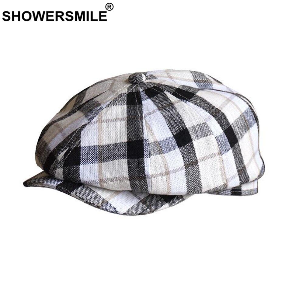 Купить кепка в клетку showersmile мужская кепка газетчика льняная летняя