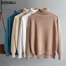 Повседневный толстый свитер с высоким воротом на осень и зиму, пуловер для женщин, теплый шикарный женский свободный вязаный базовый свитер