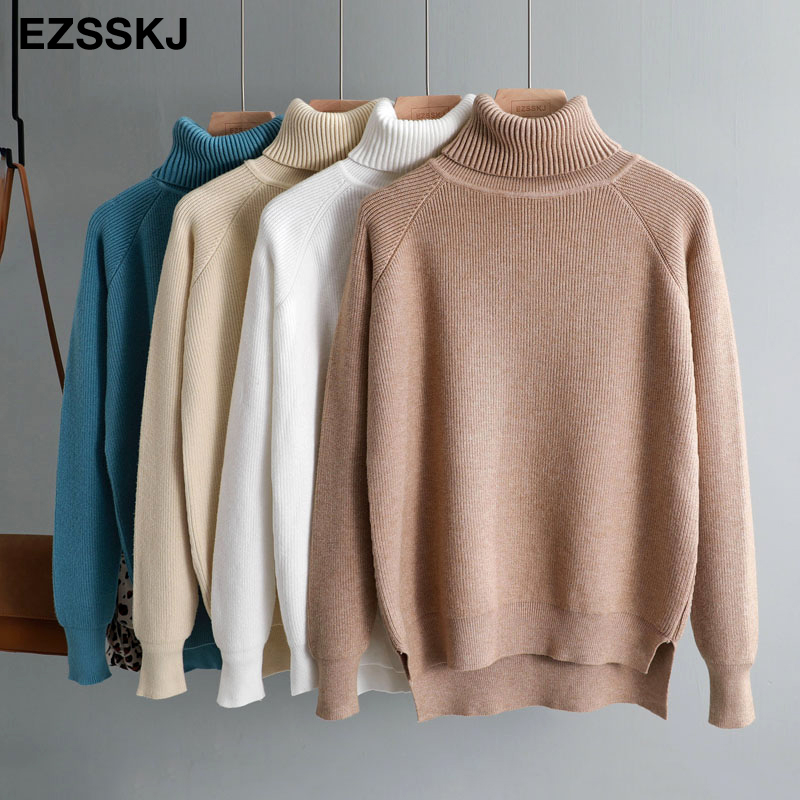 New Casual Thick Autumn Winter Turtleneck Oversize Sweater Pullover Women Warm Chic Female Loose Knitted Basic Sweaters Pull