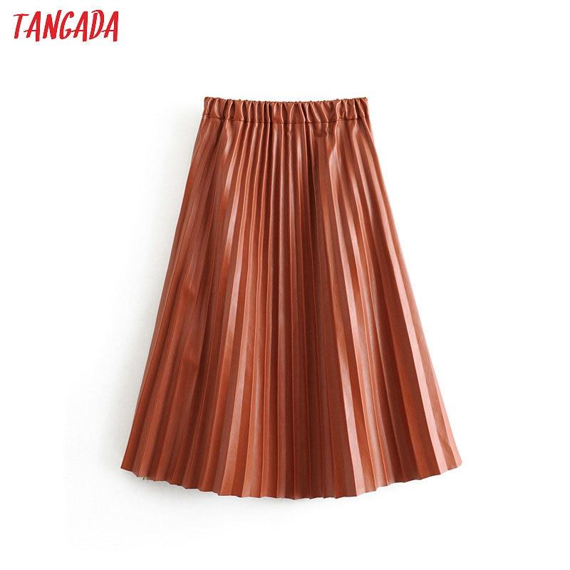 Tangada Women Pleated Brown Midi Skirt Faldas Mujer 2019 Autumn Winter Vintage Solid Female Casual Chic Mid Calf Skirts 6A322