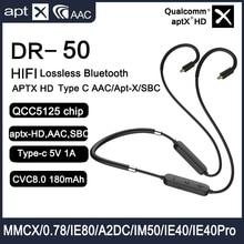 Mới QCC5125 APTX HD Bluetooth 5.0 Cáp Nâng Cấp MIC Loại C/AAC/APT X/SBC 2PIN 0.78mm MMCX IE40 PRO IE80S SE535 UE18 W4R TF10 QDC