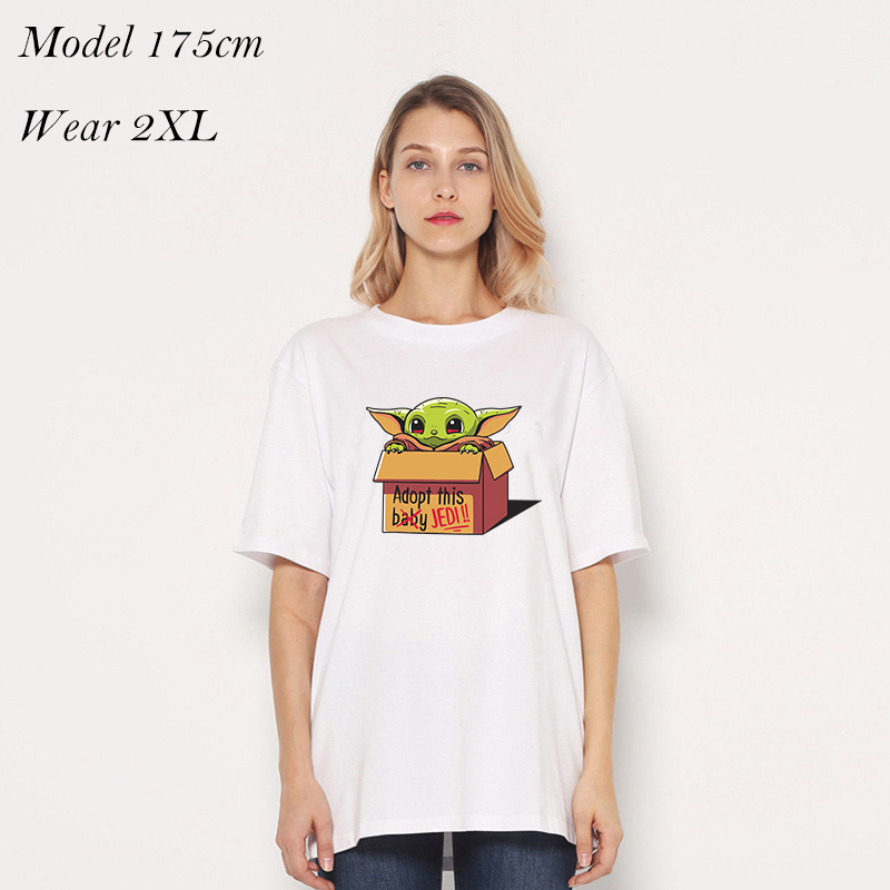 loose big size t shirt women baby yoda t-shirt custom print tshirts white cotton dropshipping loose style wholesale 110 - 5XL image