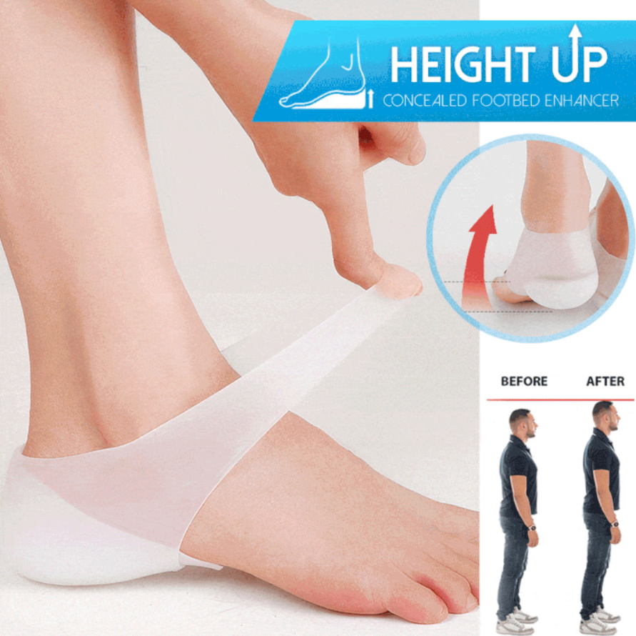 Realçadores ocultos dos pés que massageiam a altura invisível aumenta as palmilhas de silicone meias almofadas Sapatilhas    -
