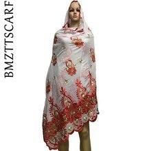 Африканский шарф, мусульманский женский большой хлопковый шарф с вышивкой, хлопок, мусульманский шарф больших размеров для шали BM471