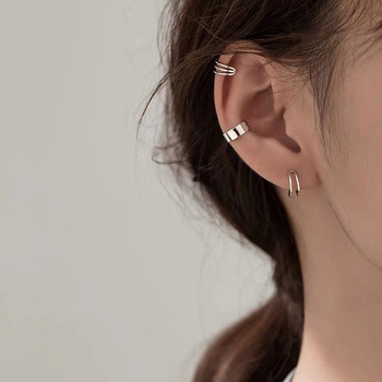 Three piece ear clip set classic fashion no ear holes simple charming lines no perforated earmuff jewelry 2021