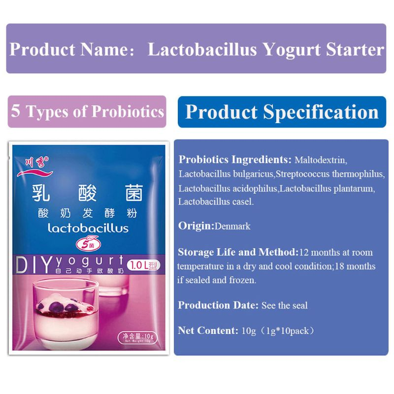 Lactobacillus Yogurt Starter,5 Probiotics,1g-1L,1g*10 Pack ,Make Dessert At Home E65D